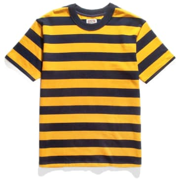 Red Ruggison Border Short Sleeve T-Shirt - Yellow / Navy