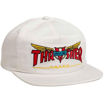 THRASHER Venture Collab Snapback Hat White