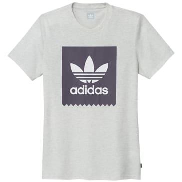adidas Solid BB Logo T-Shirt - Pale Melange / Trace Purple