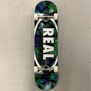 Real Skateboards Oval Logo Green Leaves Complete 8.0 Large