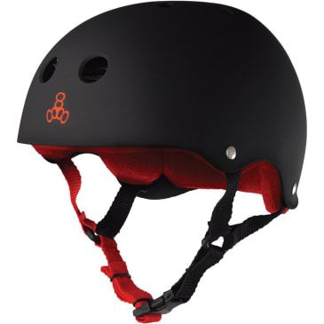 Triple Eight Sweatsaver Helmet (Black Rubber / Red)