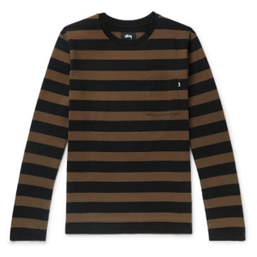 Stüssy Malcolm Stripe Long Sleeve Crew T-Shirt - Black