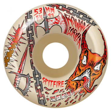 "Spitfire Formula Four ""Rowan Neckface"" Conical Full Skateboard Wheels Natural 99DU 55mm"