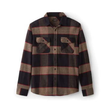 BRIXTON BOWERY L/S FLANNEL - HEATHER GREY/CHARCOAL