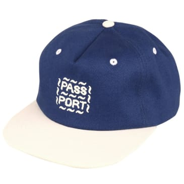 Pass~Port - Messy Logo - 6 Panel Hat - French Navy / Natural