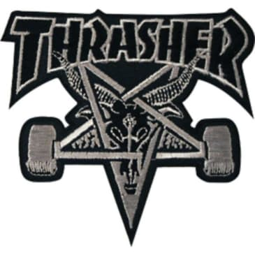 Thrasher Goat Iron on Patch Black/Grey