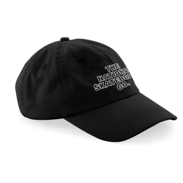 The National Skateboard Co. Classic Text 6-Panel Cap - Black