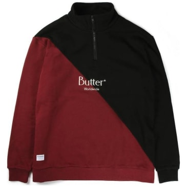 Butter Goods Split 1/4 Zip Pullover - Black/Burgundy