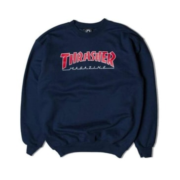 Thrasher Outlined Logo Crewneck Navy Blue