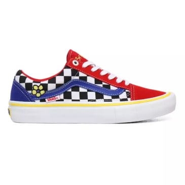 Vans Brighton Zeuner Old Skool Pro Skate Shoes - Red /Checker / Blue