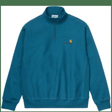 Carhartt WIP American Script Half Zip Sweatshirt - Metro Blue