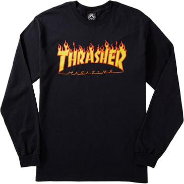 Thrasher Long Sleeve Tee Flame Black