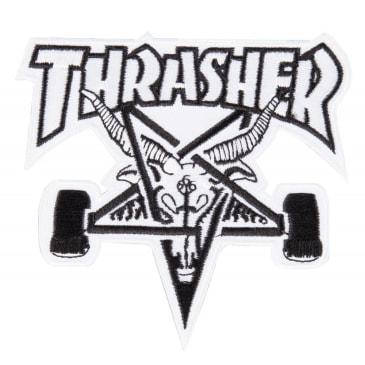 Thrasher - Sk8 Goat Patch - White / Black