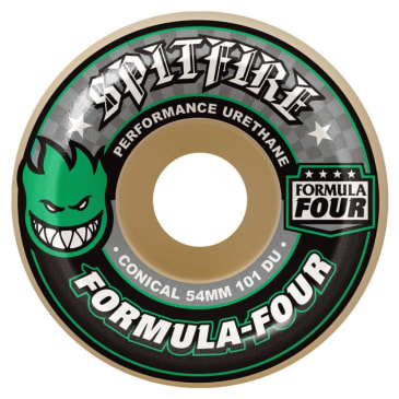 Spitfire Formula Four Skateboard Wheels - Conical (Green Print) 101D 52mm