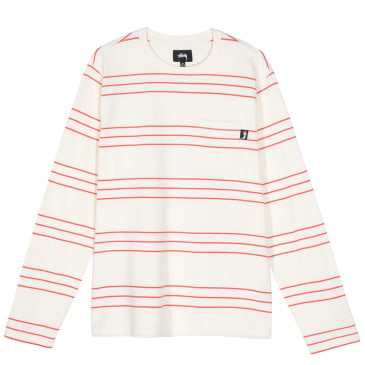 Stussy Trinity Stripe Long Sleeve Crew - Natural