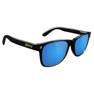 Glassy Leonard Sunglasses - Black / Blue Mirror