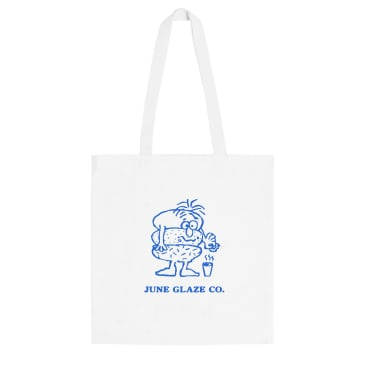 "June - ""Glaze Guy"" Tote Bag - White, Blue"