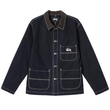 Stussy Brushed Cotton Moleskin Chore Jacket - Navy