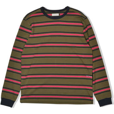 POP Trading Company Harold Stripe Long Sleeve - Combat/Pink