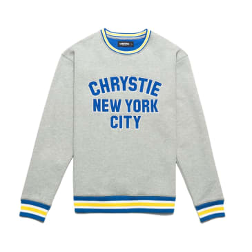 Chrystie NYC Varsity Logo Crewneck Sweater - Ash Grey