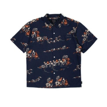Brixton Cruze Short Sleeved Shirt - Washed Navy/Ginger