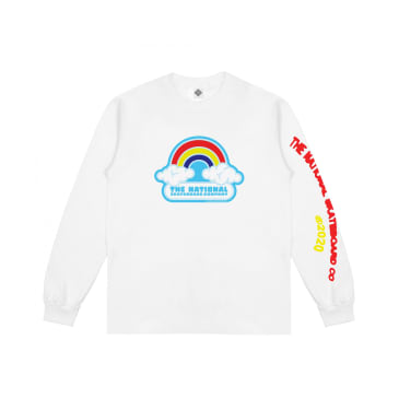 The National Skateboard Co Double Rainbow Long Sleeve T-Shirt - White