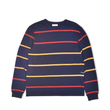 POP Trading Company Logo Striped Long Sleeve - Navy / Red / Yellow