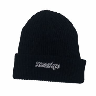 Tuesdays Script Ribbed Beanie Black