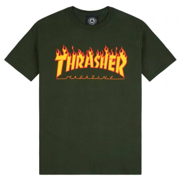 Thrasher Flame Logo T-Shirt - Forest Green