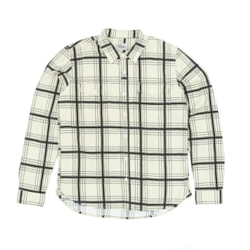 DQM Printed Flannel Work Shirt - Off White