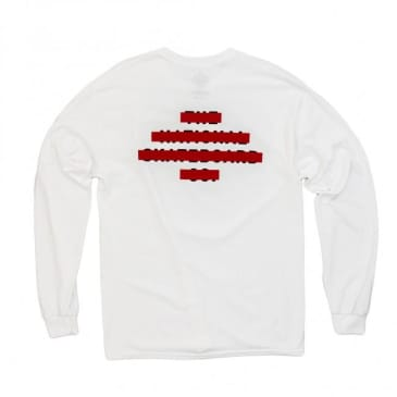 The National Skateboard Co. Redacted Long Sleeve T-Shirt - White / Red