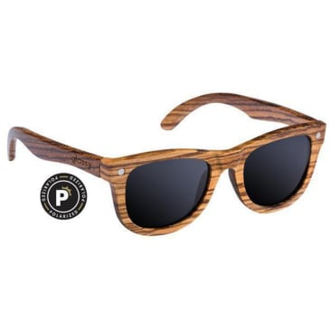 Glassy - Johnson Polarized Sunglasses - Wood/Black