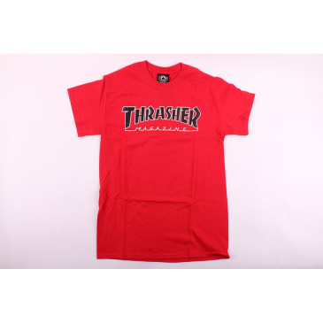 Thrasher Tee Shirt Outlined Red