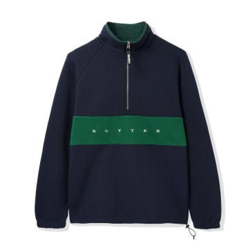 Butter Goods Hampshire 1/4 Zip Pullover - Navy / Forest Green