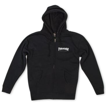 Thrasher Mag Logo Zip Hooded Sweatshirt (Black)