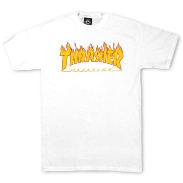 Thrasher Flame Logo T-Shirt White