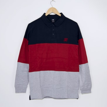 DC Shoes - 94 Heritage Longsleeve Polo Shirt - Navy / Red / Heather