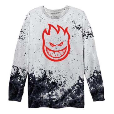 Spitfire Bighead Long Sleeve (White/Black Splatter)