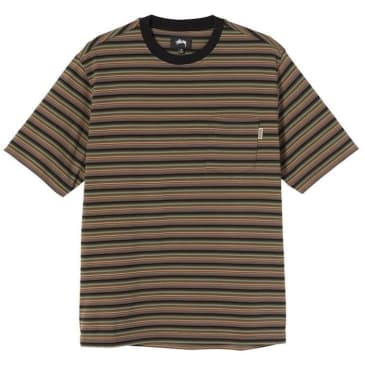 Stussy Mini Stripe Crew T-Shirt Black