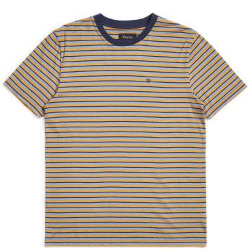 Brixton Hilt Mini Stripe Knit T-Shirt - Twilight Blue / Washed Navy
