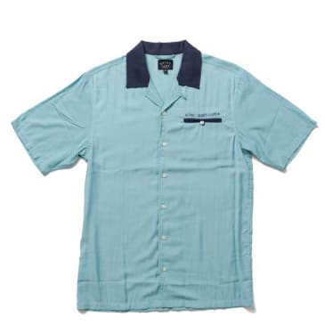 """THE QUIET LIFE- """"BOWLING AHORA SLEEVE BUTTON DOWN"""" (BLUE)"""