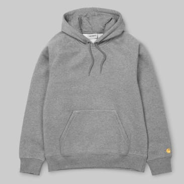 Carhartt WIP - Chase Pullover Hooded Sweatshirt- Grey Heather / Gold