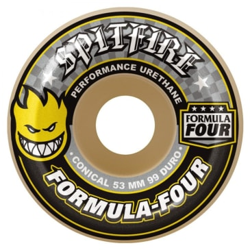 Spitfire Formula Four Skateboard Wheels - Conical (Yellow Print) 99DU 52 MM