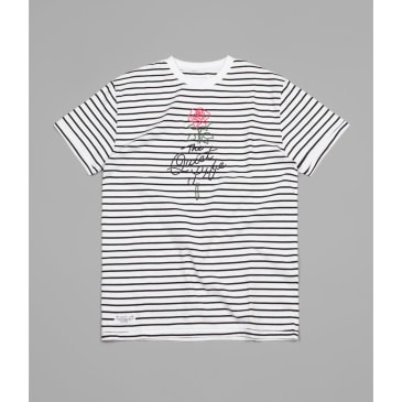 The Quiet Life Striped Rose T-Shirt - Black / White