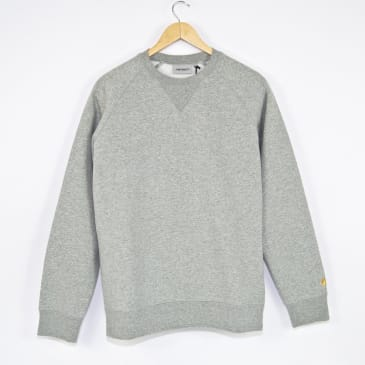 Carhartt WIP Chase Crewneck Sweatshirt - Grey Heather / Gold