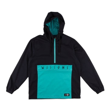WELCOME Scrawl Twill Anorak Black/Teal