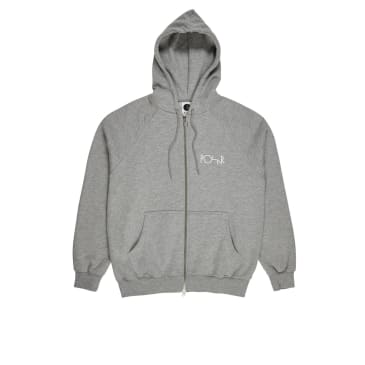 Polar Skate Co Stroke Logo Zip Hoodie - Heather Grey