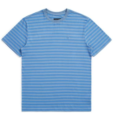 Brixton Hilt Mini Stripe Knit T-Shirt - Slate Blue / River Blue