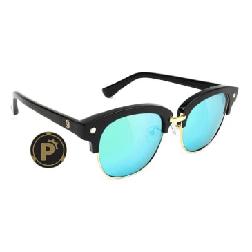 Glassy - Carrie Polarized Sunglasses - Black/Blue Mirror