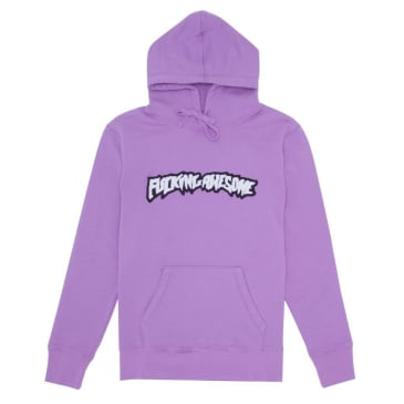Fucking Awesome Garment Dyed Chenille Logo Hoodie - Violet
